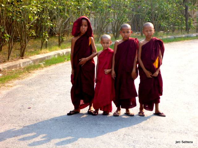 Kids in Myanmar in Monk Outfit - Things To Do In Yangon