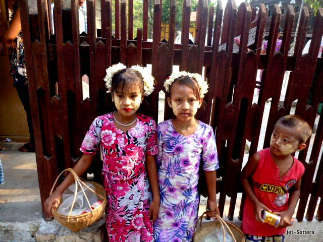 Kids in Myanmar with Sunscreen on Their Faces