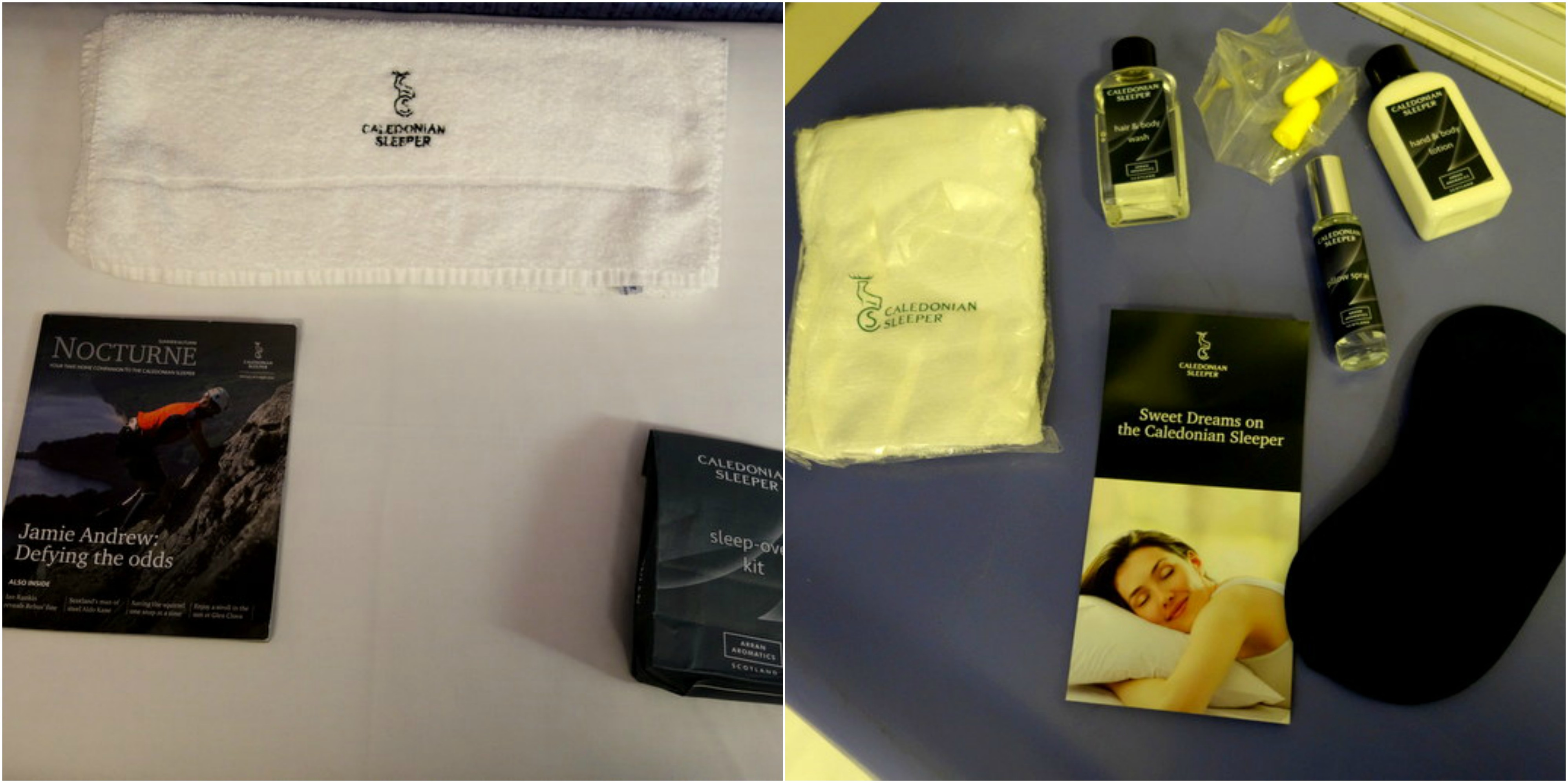 Travel Kit on The Caledonian Sleeper - The Best Way To Travel From London To Edinburgh